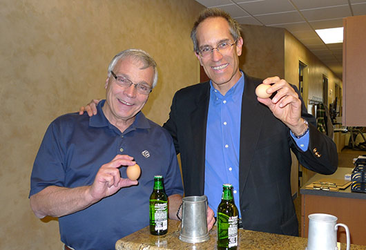 """Mr. John Brandon with Orthopedic Rehabilitation Associates wanted """"egg in his beer"""" and we obliged him with two of each. They will relocate to 6160 Tutt Boulevard the first of next year"""